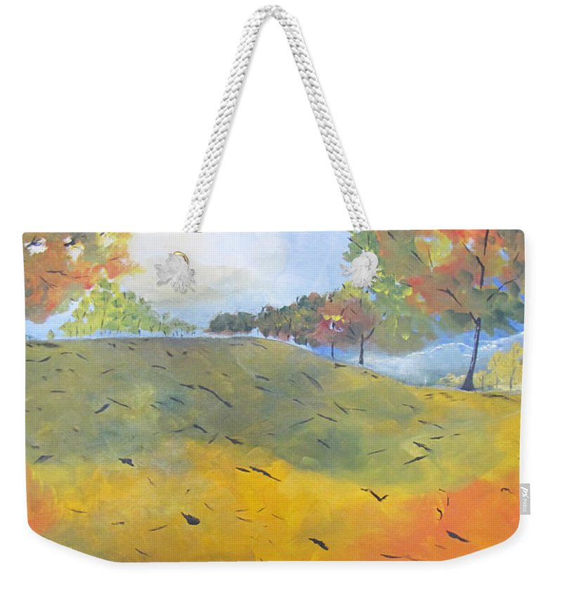 Acrylic Weekender Tote Bag featuring the painting Autumn Leaves Panel 2 Of 2 by Gary Smith
