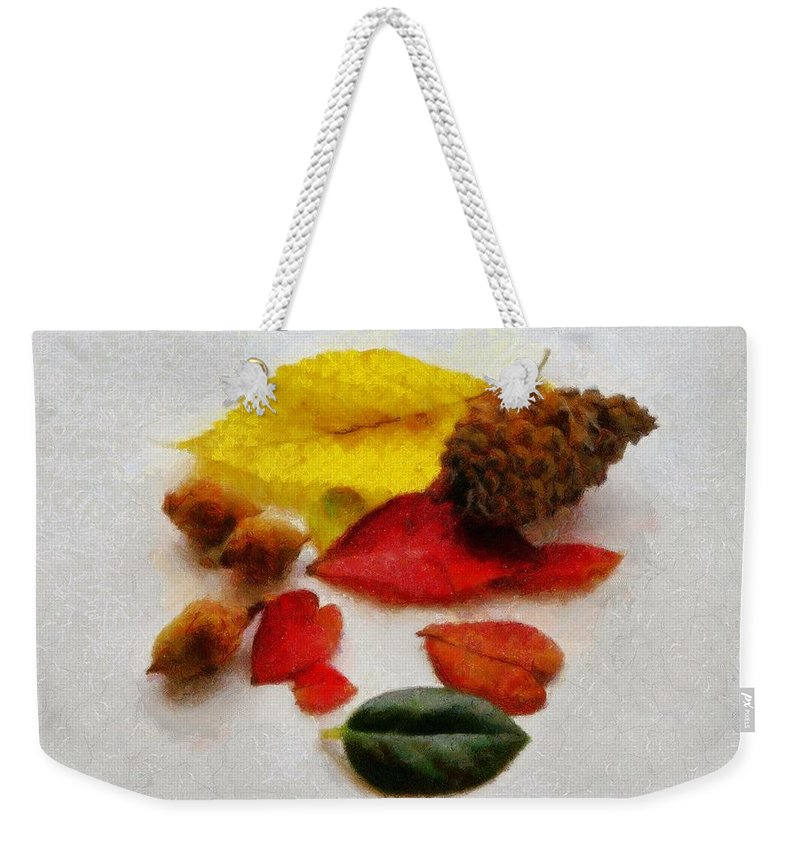 Acorn Weekender Tote Bag featuring the painting Autumn Medley by Jeffrey Kolker