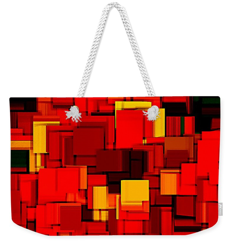 Abstract Weekender Tote Bag featuring the digital art Autumn Modern Abstract Xv by Lourry Legarde