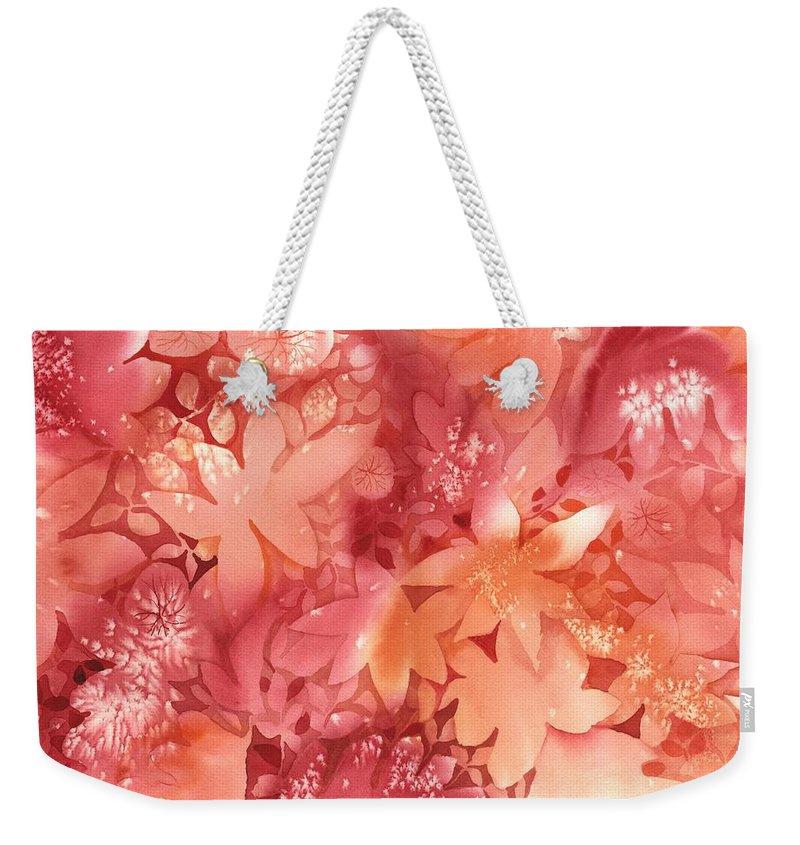 Orange Weekender Tote Bag featuring the painting Autumn Monochrome by Neela Pushparaj