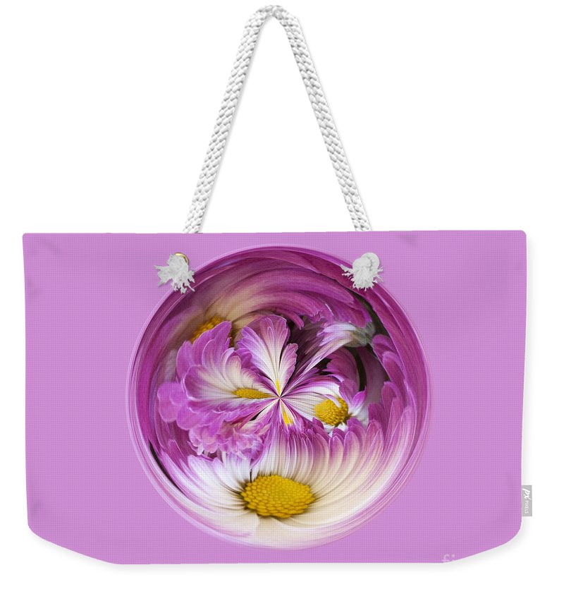 Purple Weekender Tote Bag featuring the photograph Autumn Mum Orb Abstract by Darleen Stry