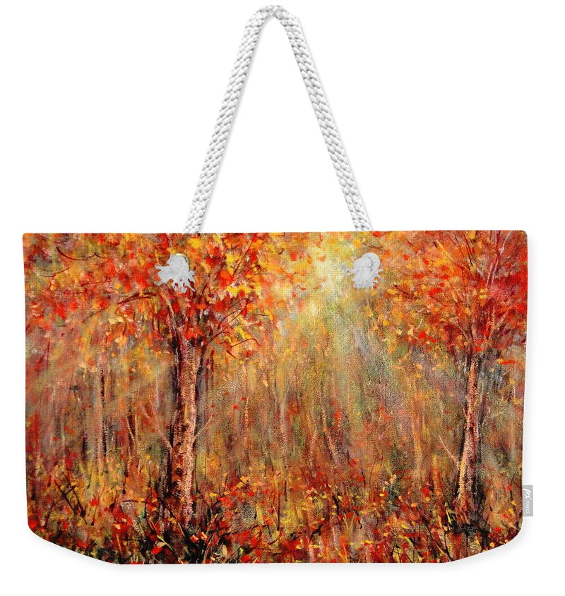Landscape Weekender Tote Bag featuring the painting Autumn by Natalie Holland