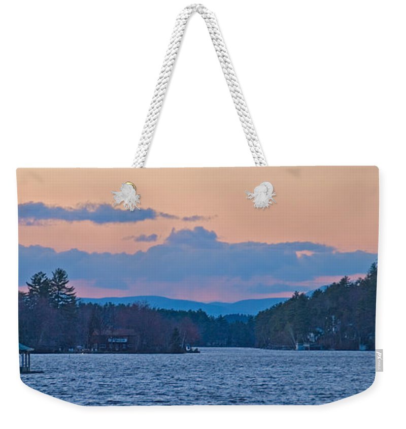 new Hampshire Lakes Region Weekender Tote Bag featuring the photograph Autumn On The Lake by Paul Mangold