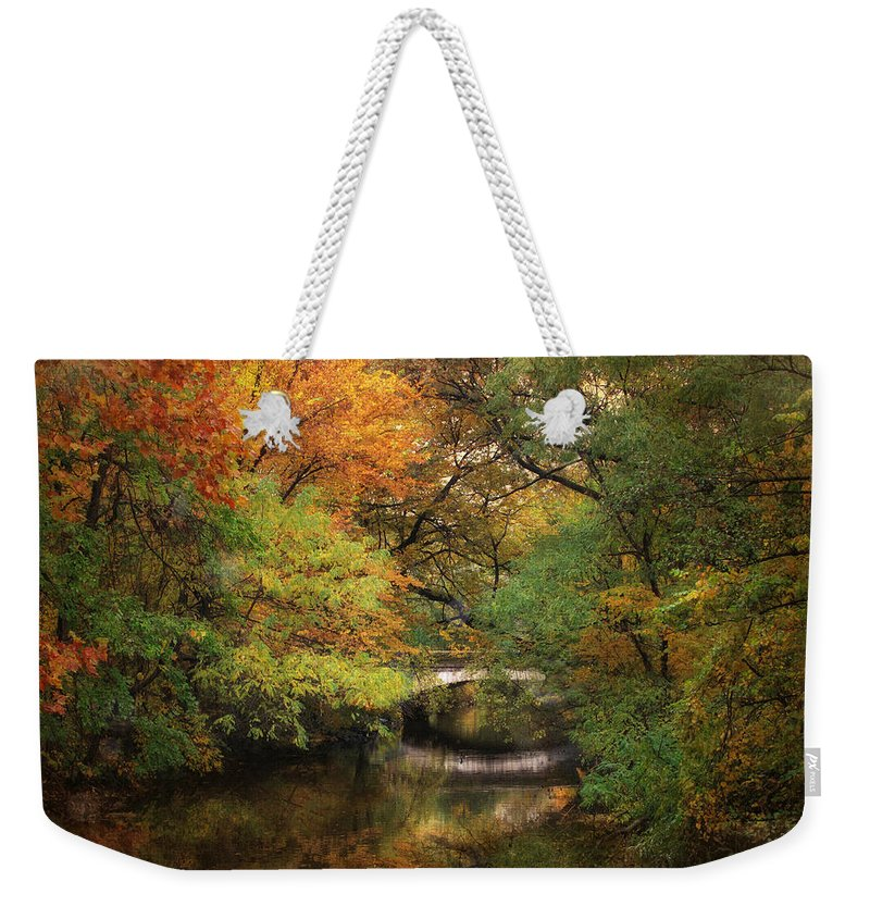 Autumn Weekender Tote Bag featuring the photograph Autumn On The River by Jessica Jenney