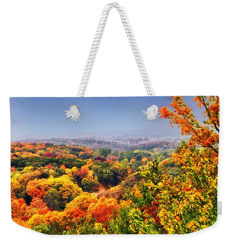 Autumn Weekender Tote Bag featuring the photograph Autumn Over The Rolling Hills by Thomas Woolworth