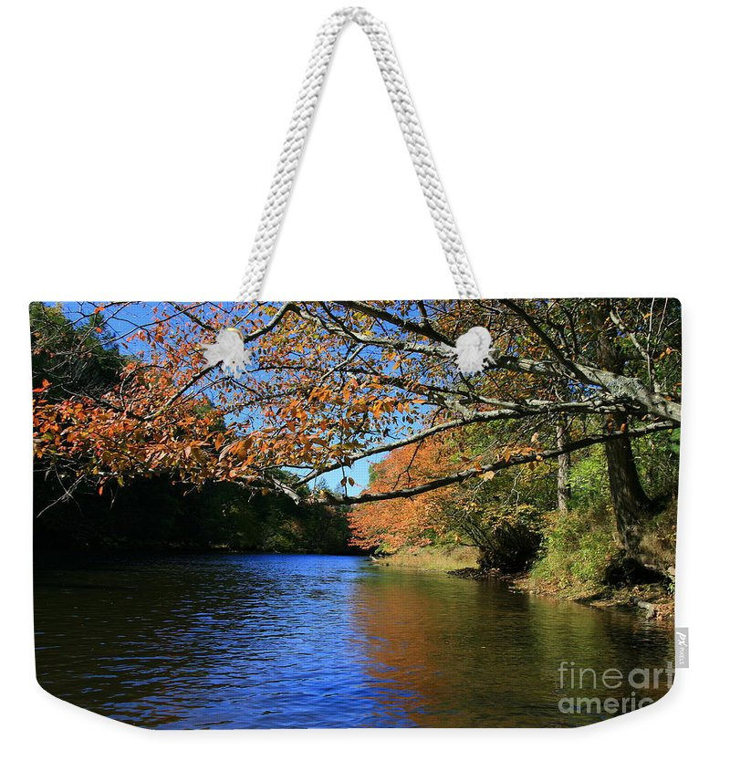 Autumn Reflections Weekender Tote Bag featuring the photograph Autumn Paddle On The Quinnebaug by Neal Eslinger