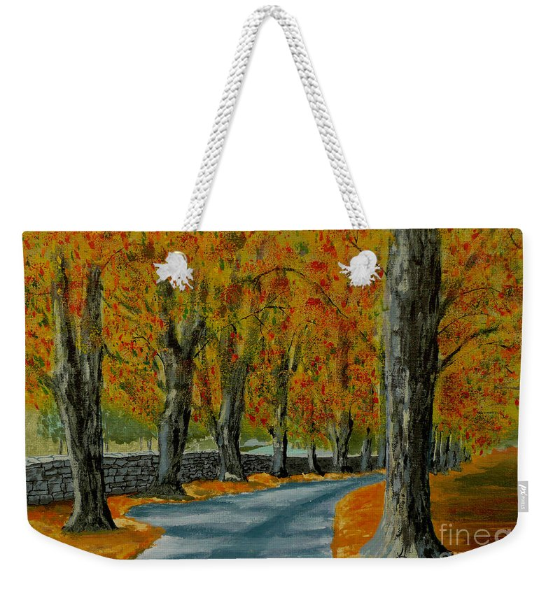 Autumn Weekender Tote Bag featuring the painting Autumn Pathway by Anthony Dunphy