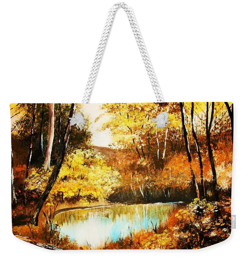 Trees Weekender Tote Bag featuring the painting Changing Of The Season by Al Brown