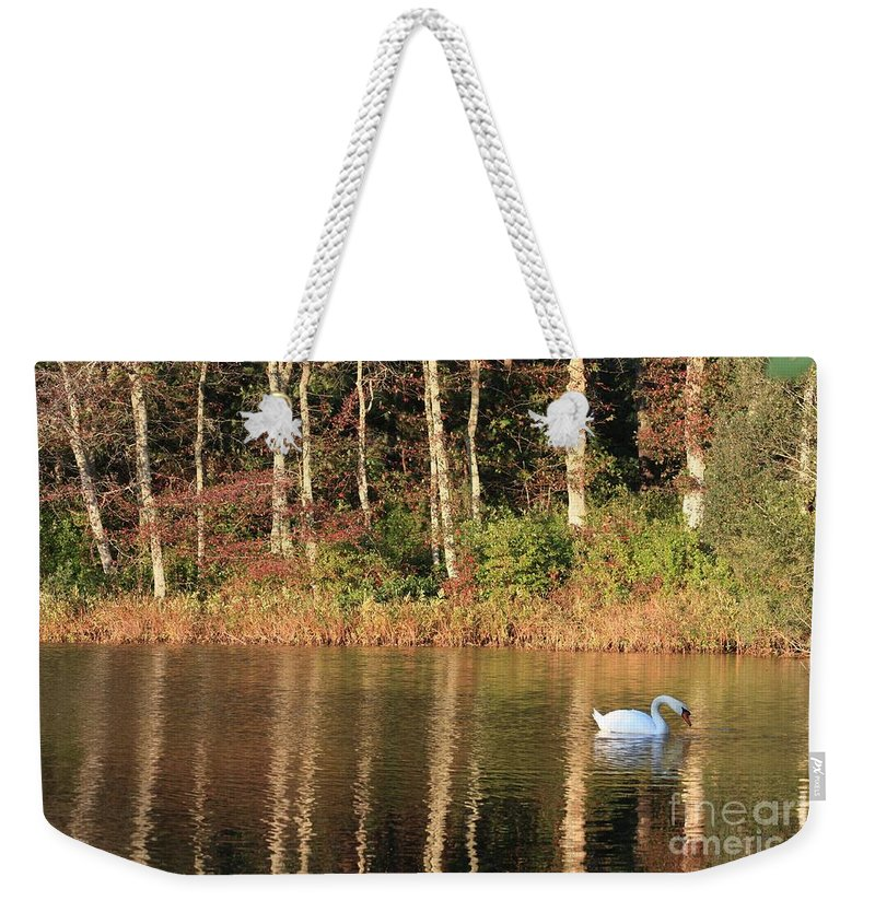 Autumn Weekender Tote Bag featuring the photograph Autumn Pond Sunset With Swan by Carol Groenen