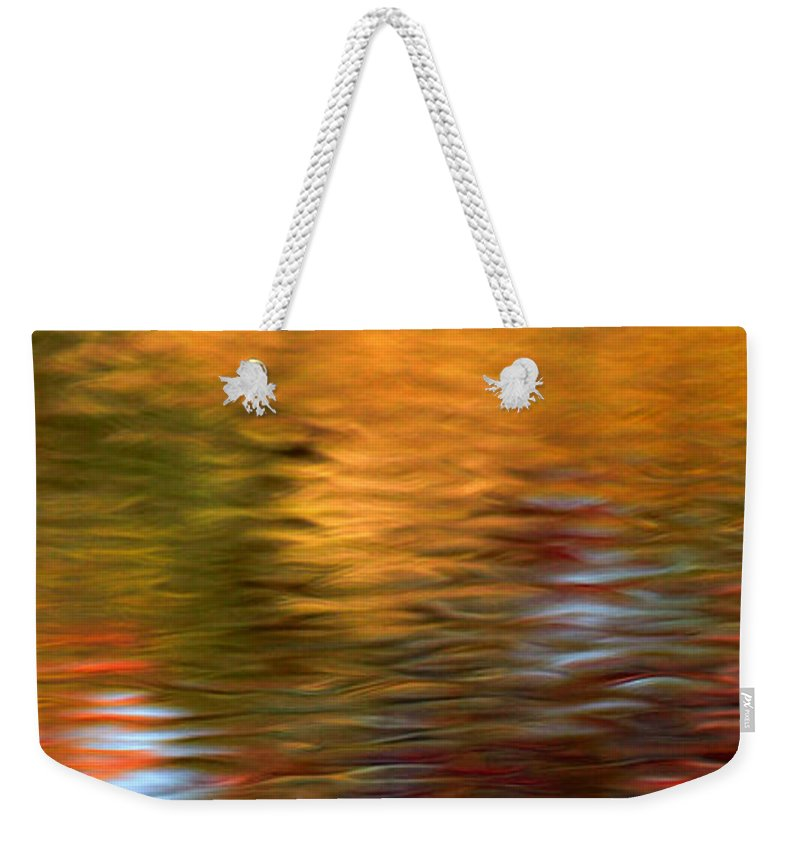 Fall Colors Weekender Tote Bag featuring the photograph Autumn Reflections In Pond by Optical Playground By MP Ray