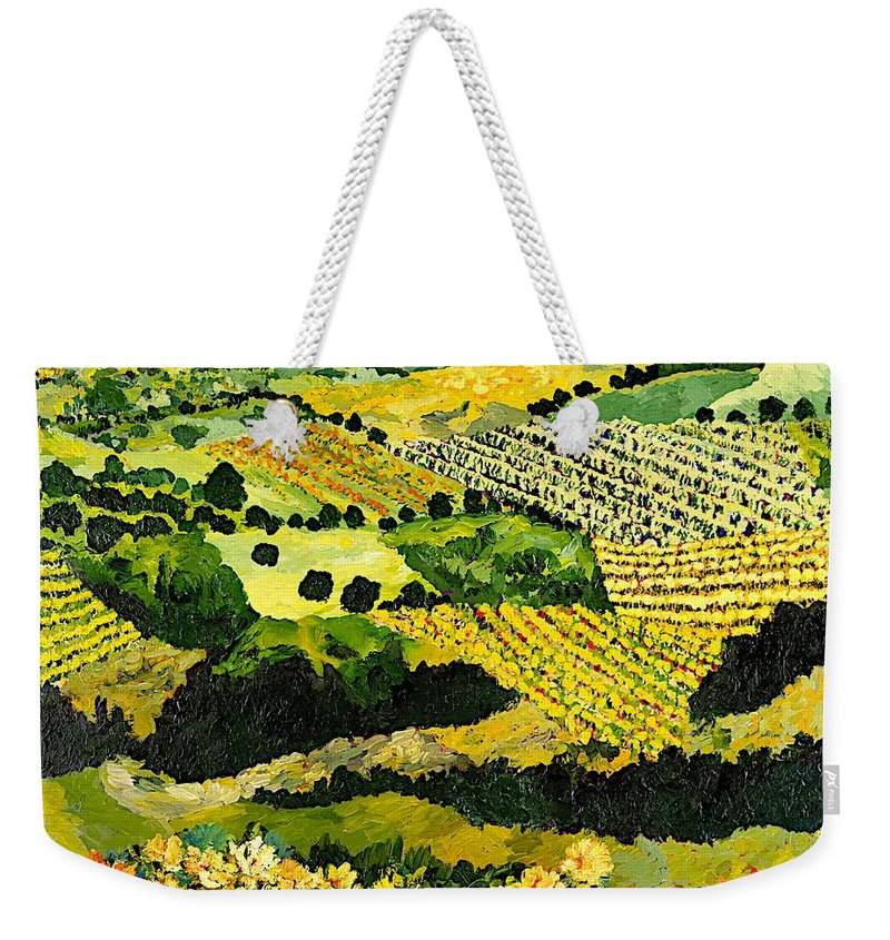 Landscape Weekender Tote Bag featuring the painting Autumn Remembered by Allan P Friedlander