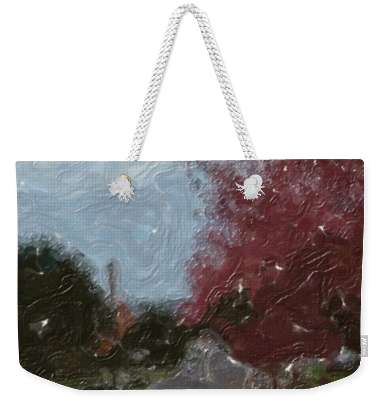 Autumn Weekender Tote Bag featuring the painting Autumn Road by Sergey Bezhinets
