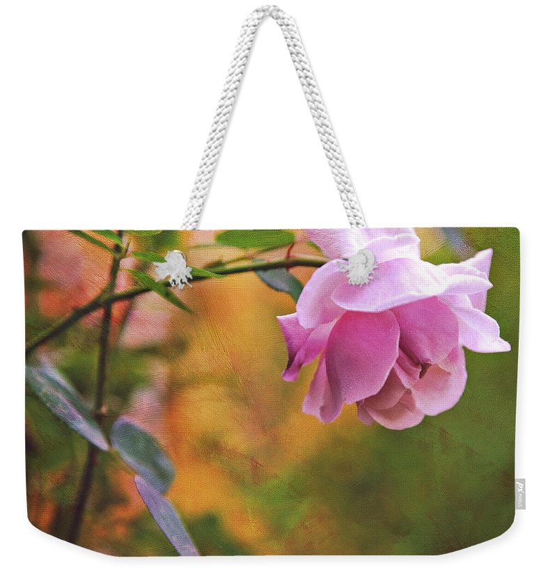 Rose Weekender Tote Bag featuring the photograph Autumn Rose by Theresa Tahara
