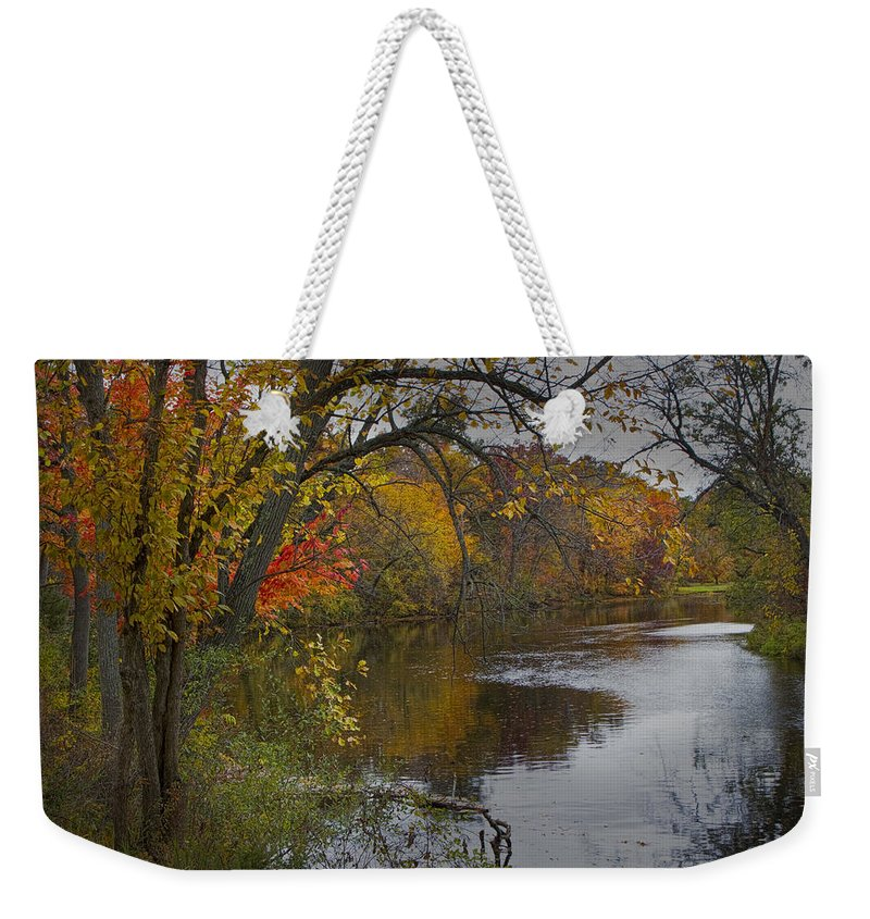 Art Weekender Tote Bag featuring the photograph Autumn Scene Of The Flat River by Randall Nyhof