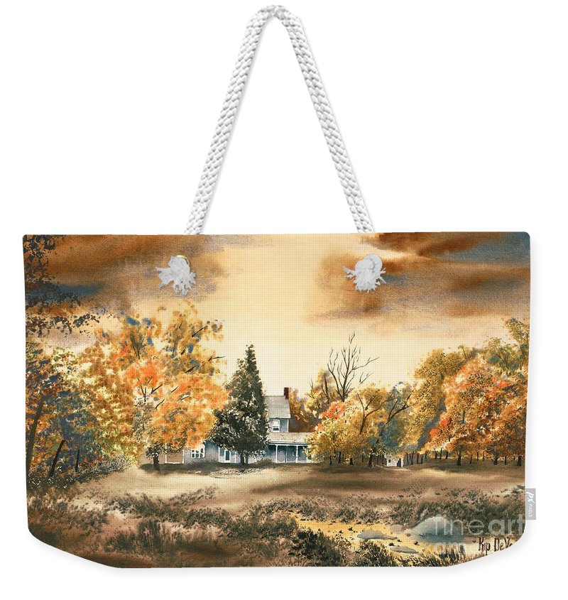 Autumn Sky No W103 Weekender Tote Bag featuring the painting Autumn Sky No W103 by Kip DeVore