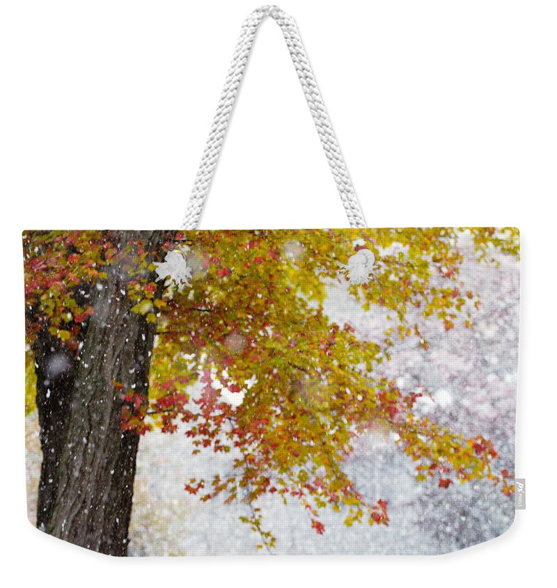 Autumn Weekender Tote Bag featuring the photograph Autumn Snow by Stephanie McDowell