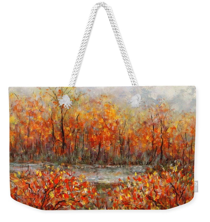 Landscapes Weekender Tote Bag featuring the painting Autumn Song by Natalie Holland