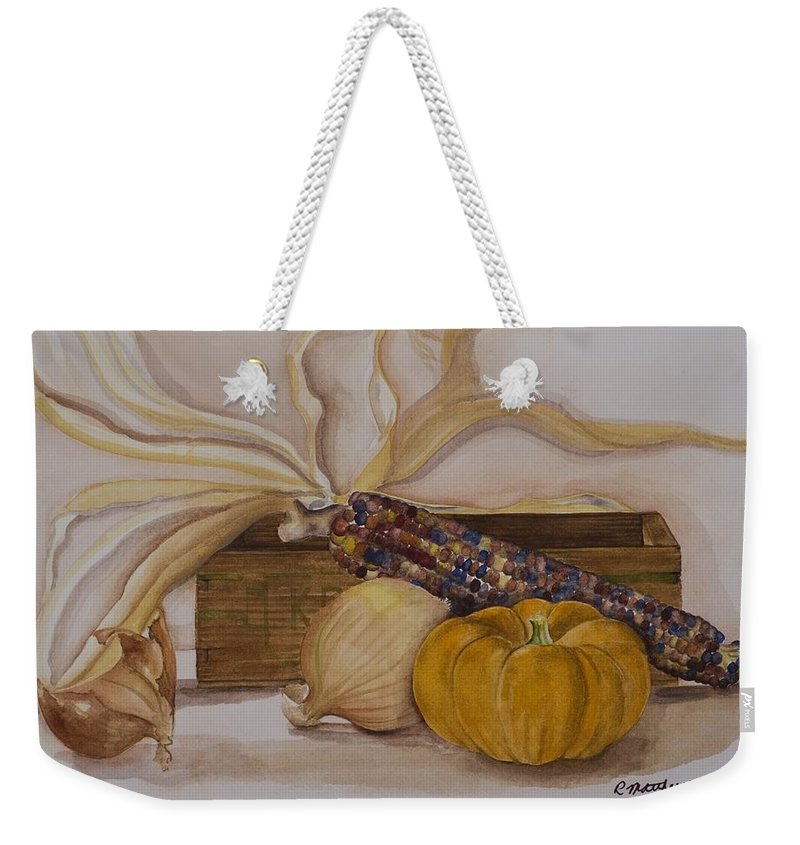 Fine Art Still Life Weekender Tote Bag featuring the painting Autumn Still Life by Rebecca Matthews