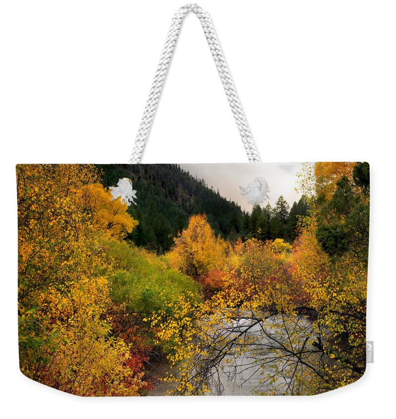 Idaho Weekender Tote Bag featuring the photograph Autumn Stream by Leland D Howard