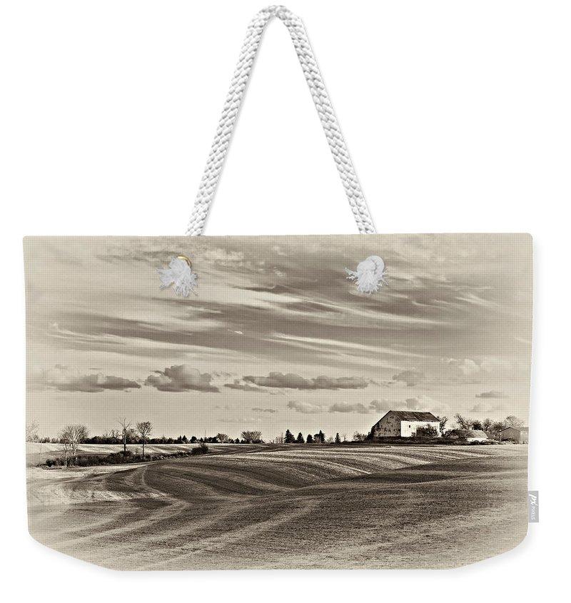 Autumn Weekender Tote Bag featuring the photograph Autumn Swirls Sepia by Steve Harrington