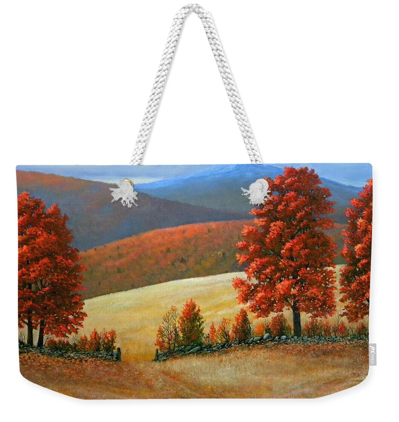 Landscape Weekender Tote Bag featuring the painting Autumns Glory by Frank Wilson