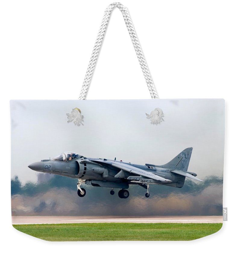 3scape Weekender Tote Bag featuring the photograph Av-8b Harrier by Adam Romanowicz