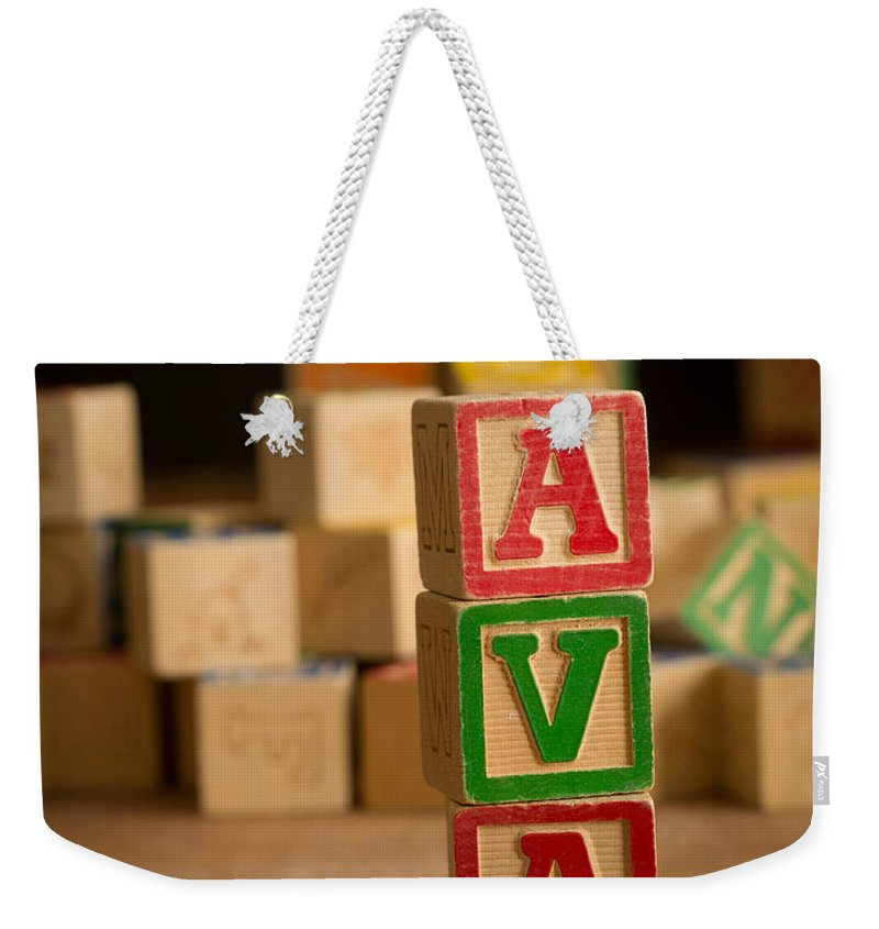 Alphabet Weekender Tote Bag featuring the photograph Ava - Alphabet Blocks by Edward Fielding