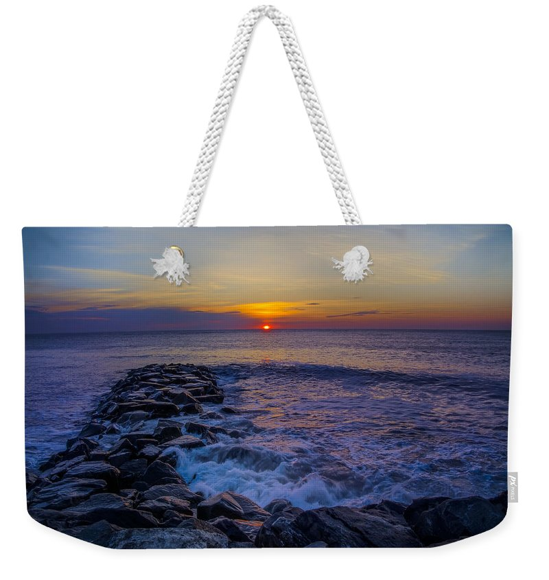 Avalon Weekender Tote Bag featuring the photograph Avalon New Jersey Sunrise by Bill Cannon