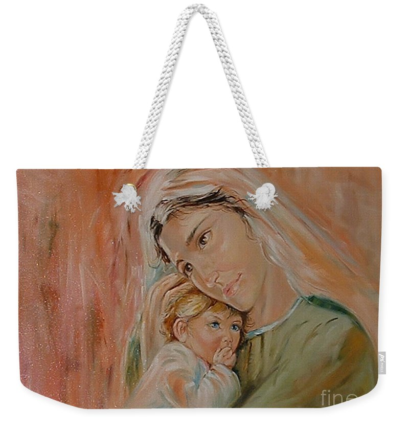 Classic Art Weekender Tote Bag featuring the painting Ave Maria by Silvana Abel