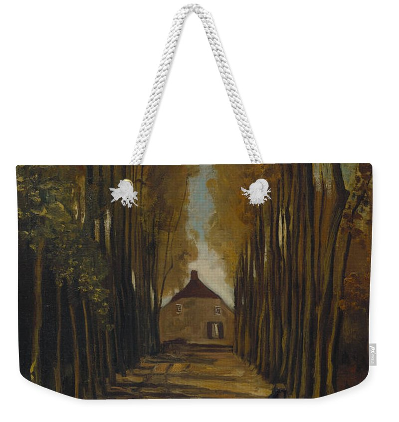 Vincent Van Gogh Weekender Tote Bag featuring the painting Avenue Of Poplars In Autumn by Vincent Van Gogh