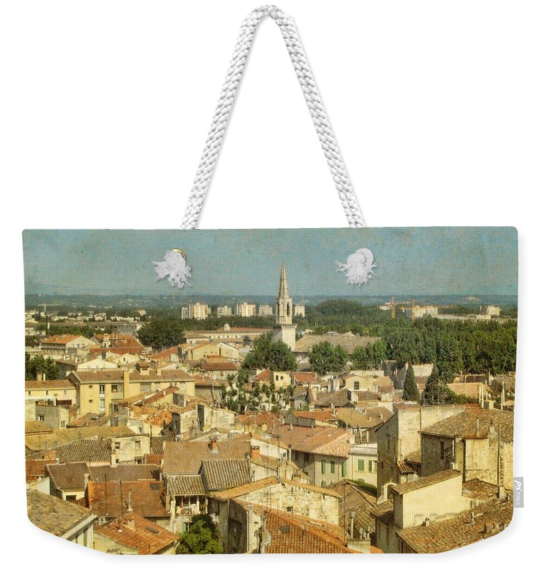 Wright Weekender Tote Bag featuring the photograph Avignon From Les Roches by Paulette B Wright