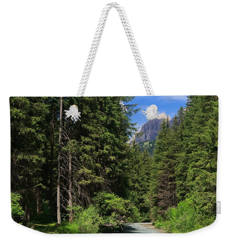 Alpine Weekender Tote Bag featuring the photograph Avisio River by Antonio Scarpi
