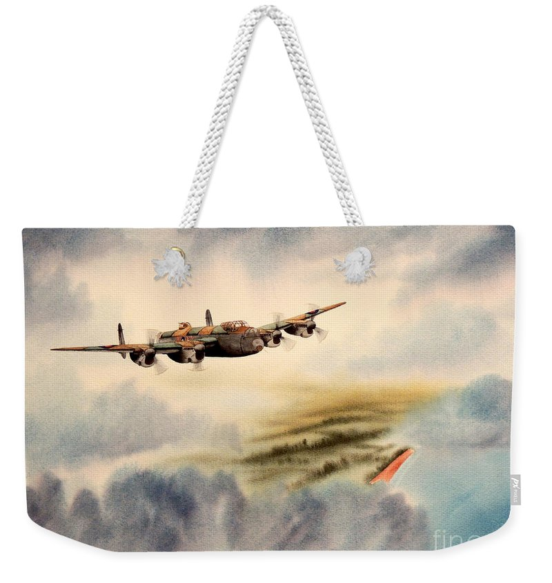 Avro Lancaster Heavy Bomber Weekender Tote Bag featuring the painting Avro Lancaster Over England by Bill Holkham
