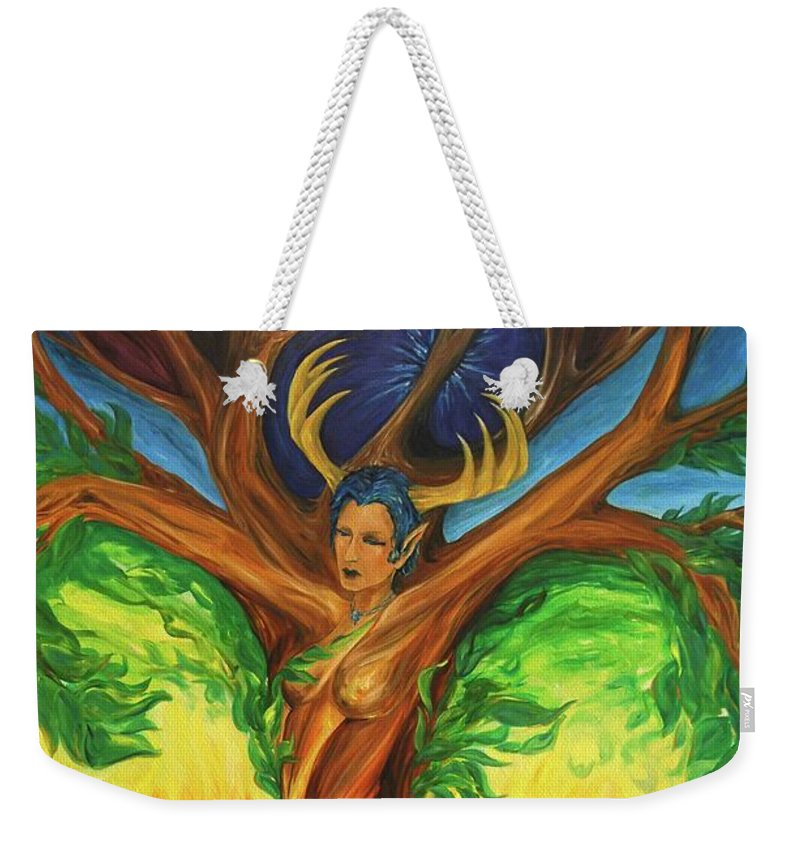 Landscape Weekender Tote Bag featuring the painting Awakening The Chakra Tree by Jennifer Christenson