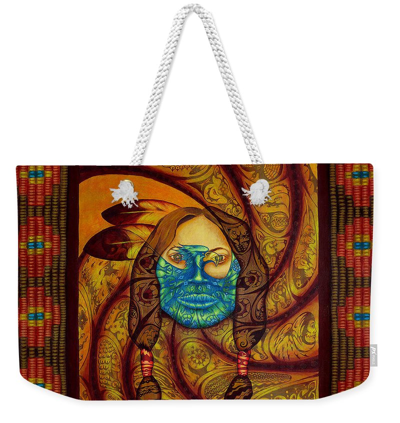 Native American Weekender Tote Bag featuring the painting Awakenings by Kevin Chasing Wolf Hutchins