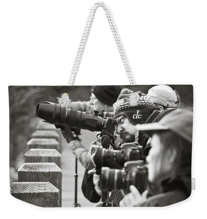 Photographers Crowd For The Perfect Angle Of Yosemite Falls As Viewed From Swinging Bridge. Weekender Tote Bag featuring the photograph Awe Inspiring Views At Yosemite by Jon Zich