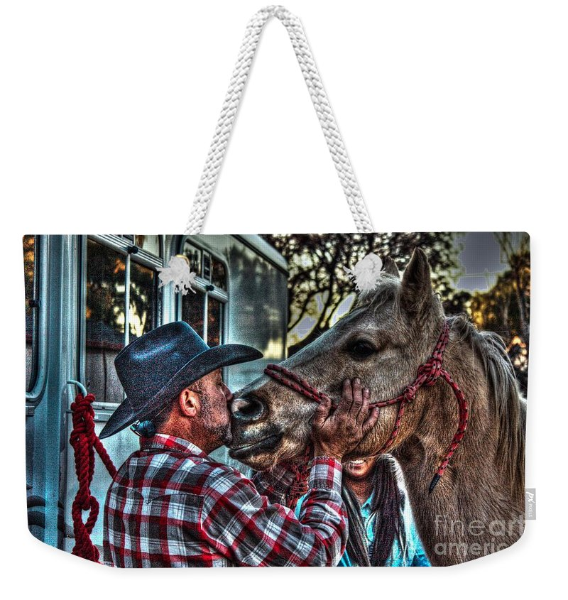 Horse Weekender Tote Bag featuring the photograph Awww Dixie by Tommy Anderson