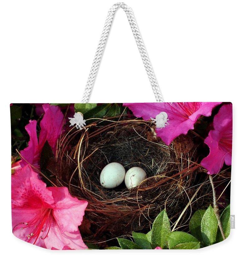 Bird Nests Weekender Tote Bag featuring the photograph Azalea Surprise by Karen Wiles