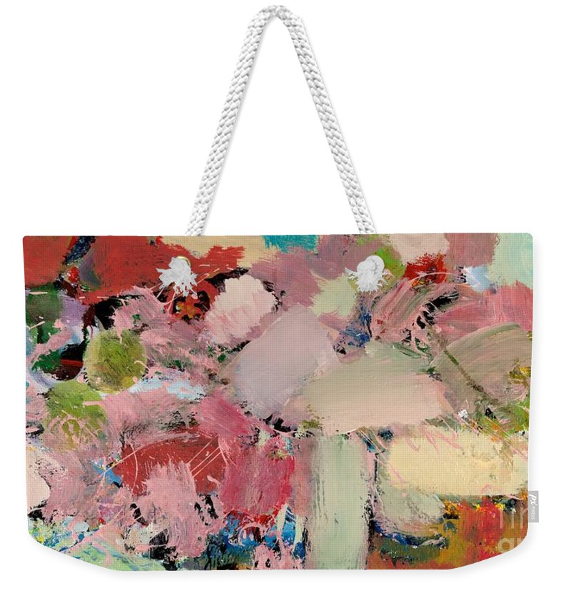 Landscape Weekender Tote Bag featuring the painting Azaleas by Allan P Friedlander