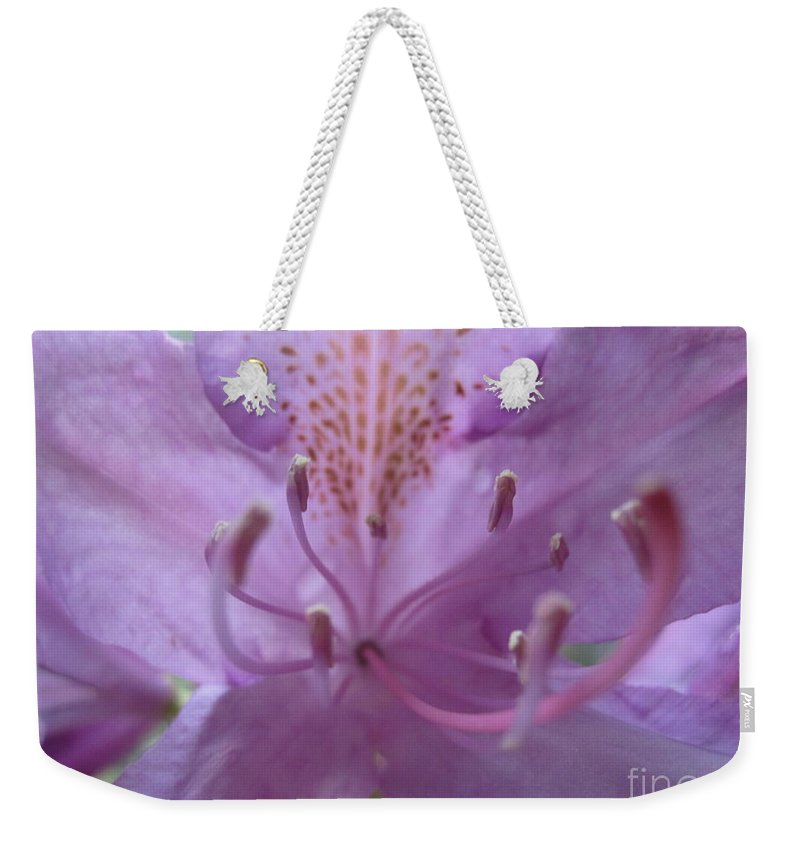 Floral Weekender Tote Bag featuring the photograph Azalia Macro by Tara Shalton