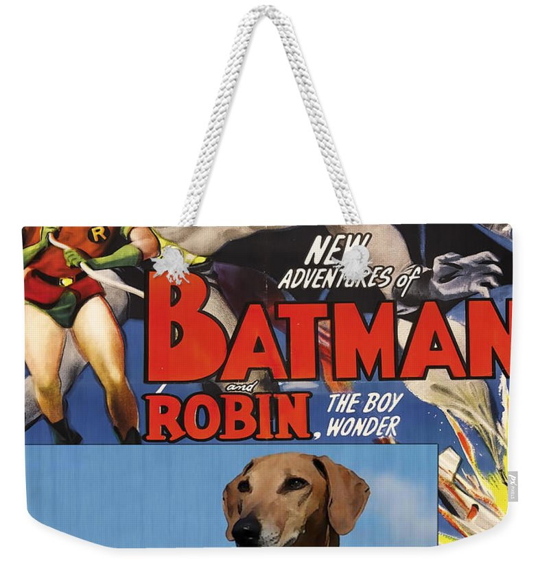 Dog Weekender Tote Bag featuring the painting Azawakh Art - Batman Movie Poster by Sandra Sij