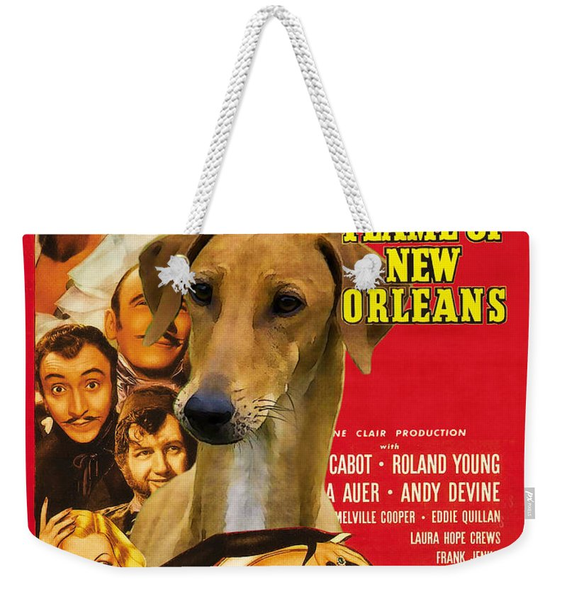 Dog Weekender Tote Bag featuring the painting Azawakh Art - The Flame Of New Orleans Movie Poster by Sandra Sij