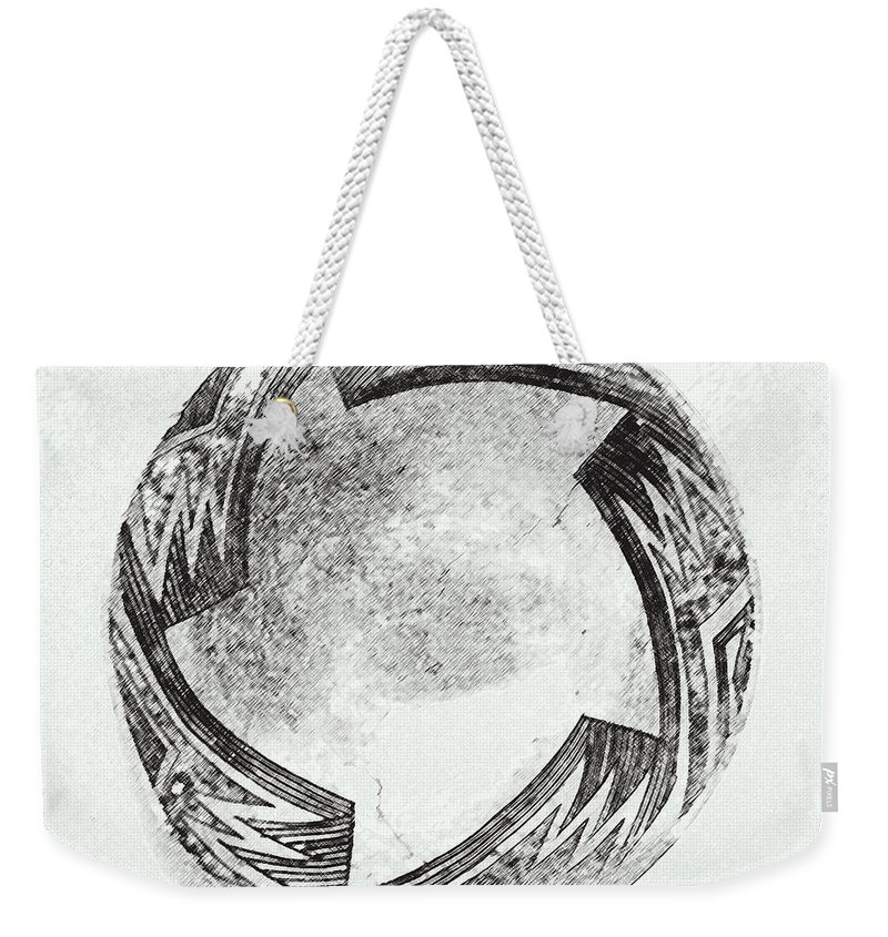 Aztec Weekender Tote Bag featuring the digital art Aztec Bowl by Lovina Wright