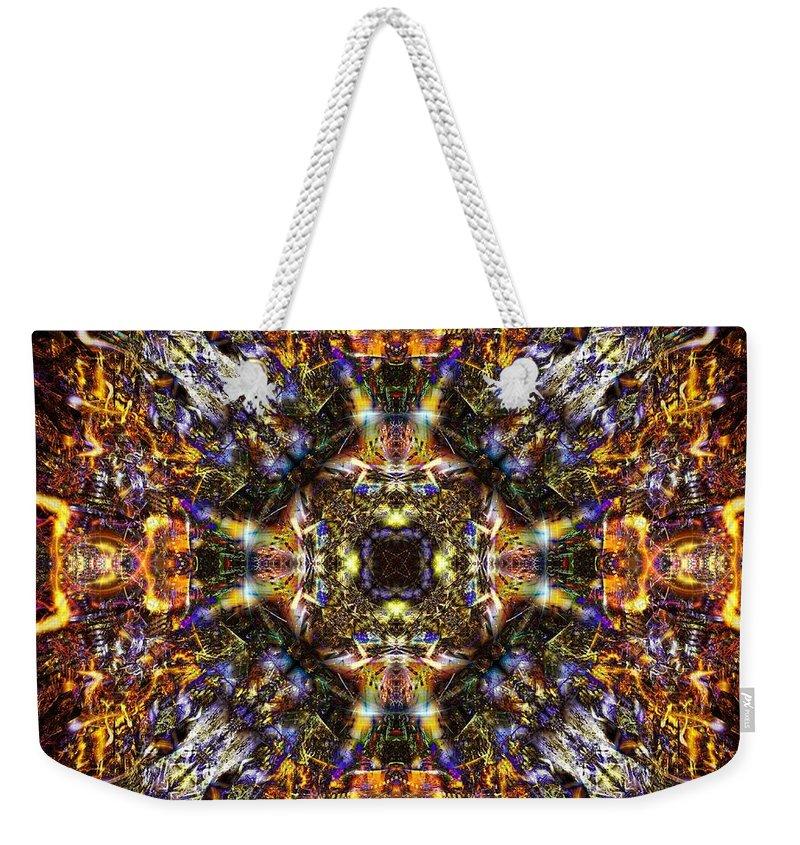 Mandala Weekender Tote Bag featuring the digital art Aztec Treasure by Klara Acel