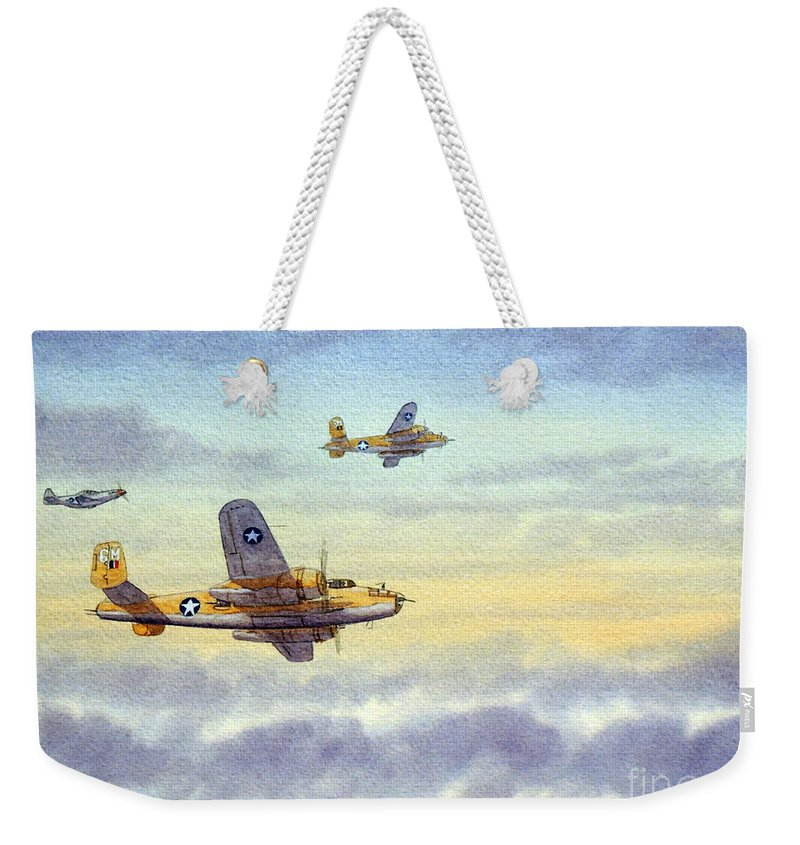 B-25 Mitchell Weekender Tote Bag featuring the painting B-25 Mitchell by Bill Holkham