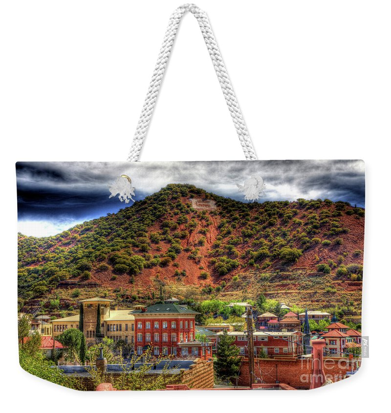 B Weekender Tote Bag featuring the photograph B Hill Over Historic Bisbee by Charlene Mitchell