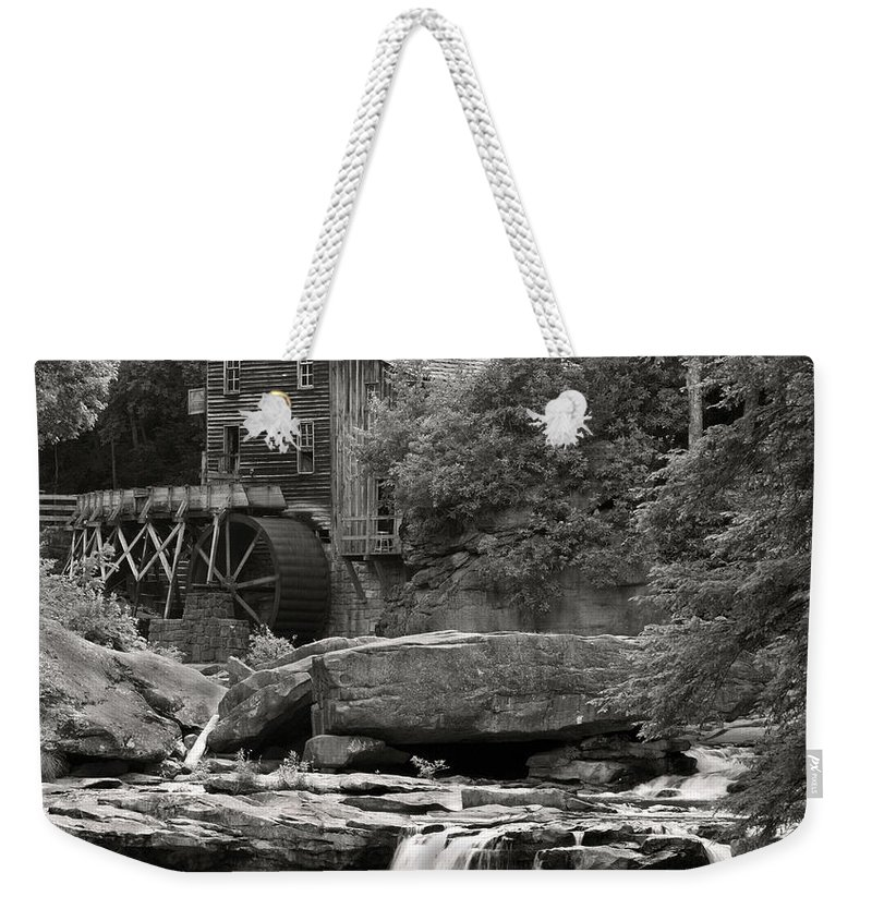 B+w Weekender Tote Bag featuring the photograph Babcock Grist Mill No. 1 by Jerry Fornarotto