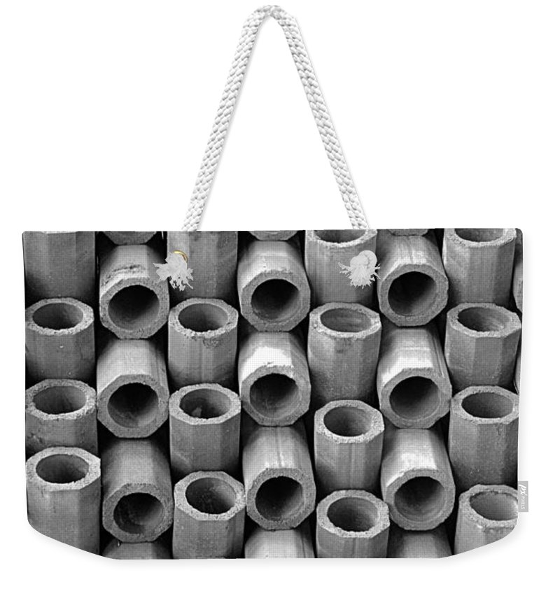 Abstract Weekender Tote Bag featuring the photograph Babel In Black And White by Lauren Leigh Hunter Fine Art Photography