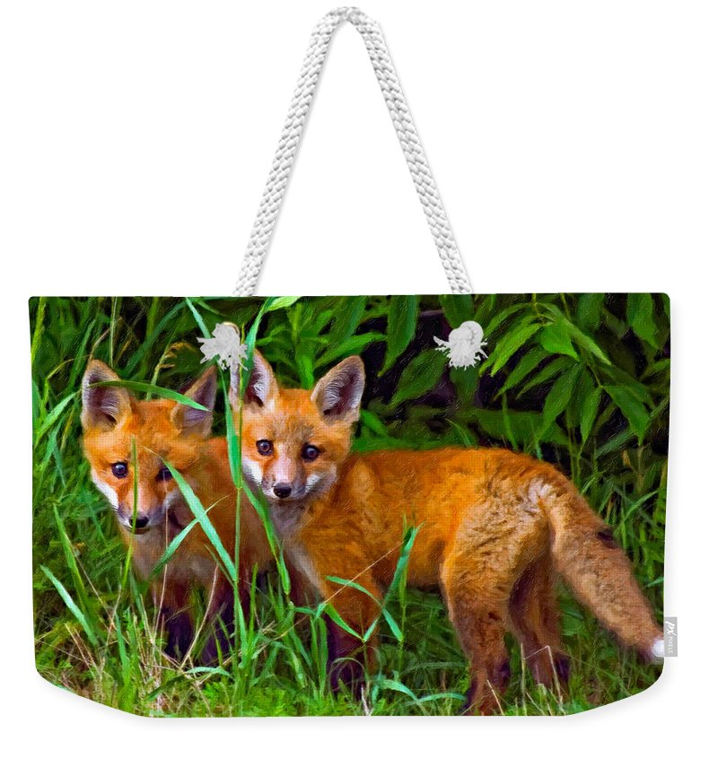 Fox Weekender Tote Bag featuring the photograph Babes In The Woods Impasto by Steve Harrington
