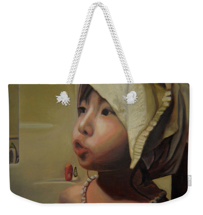 Figure Weekender Tote Bag featuring the painting Baby Bath Mama by Thu Nguyen